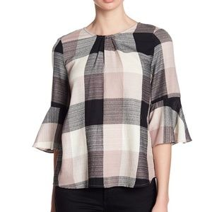 Ro & De Plaid Blouse with Back Bow & Bell Sleeves